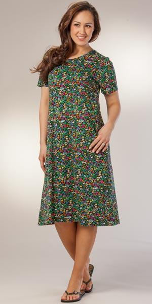 Casual Black Dresses by La Cera - Cotton Knit Mid Length A-Line Dress