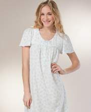 Nightgowns - Long Cotton-Rich Aria Short Sleeve Gown - Bluebelle Spray