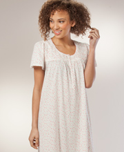 Women's Nightgowns - Long Aria Cotton-Rich Short Sleeve - Flower Patch