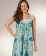Cotton Plus Gown - La Cera Sleeveless Ballet Nightgown in Blue Dusk