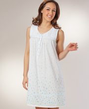 Cotton-Rich Nightgowns by Aria - Sleeveless Short in Bluebelle Ditsy