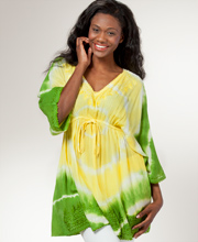 Tunic Top - Easy Fit Misses Empire Waist Beach Cover-Up in Citrus