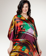 Plus Women's Sante Caftan - Beaded Neckline Satin Kaftan in Cosmic Sky