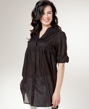 Tunic Top - Pintucked Roll Sleeve Easy Fit Cotton Blouse - Black