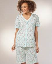 Short Cotton Knit Pajama Set By Carole Hochman - Aqua Buds