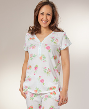 Pajama Set By Carole Hochman - 100% Cotton Knit - Poppy Spray