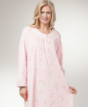 Plus Miss Elaine Long Sleeve Cotton-Rich Knit Nightgown - Lacy Posies
