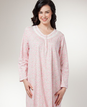 Miss Elaine Nightgown - Cotton-Rich Long Sleeve Knit Mid-Length Gown - Pink Ditsy