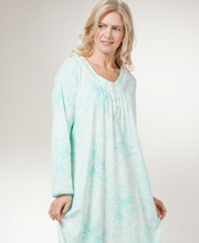Cotton Nightgown - Miss Elaine Long Sleeve Knit Nightgown In Seafoam Floral