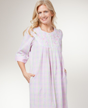 Miss Elaine Plus Size Bathrobes - Seersucker Long Zip Robe In Pastel Plaid