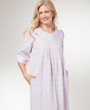 Miss Elaine Plus Size Bathrobes - Seersucker Long Zip Robe In Pastel Plaid