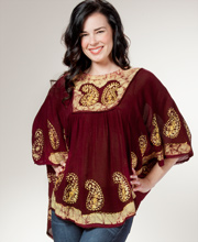 Cotton Scoop Neck Top - Easy Fit Poncho Top - Plum Paisley