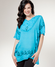 Poncho Top - Easy Fit Embroidered Short Caftan - Turquoise