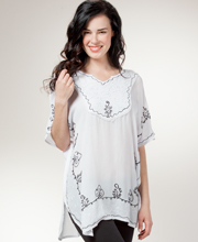 Woven Short Caftan - Easy Fit Embroidered Rayon Poncho - White