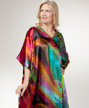 Satin Plus Caftans - Sante Womens Beaded Neckline Kaftan in Dreamscape