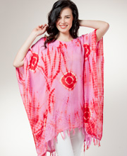 Short Caftan Poncho - Tie-Dye Rayon One Size Kaftan - Strawberry Swirl