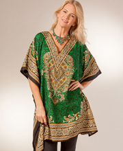 Sant&eacute Plus Kaftan - V-Neck One Size Caftan Top - Byzantine Emerald