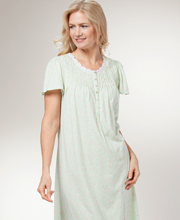 Aria Women's Nightgowns - Long Cotton-Rich Short Sleeve - Zinnia Ditsy