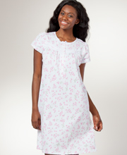Laura Ashley Cotton Nightgown - Short Sleeve Short Gown in Butterfly Meadow
