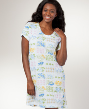 Cotton Nightshirt - Carole Hochman Short Sleeve Knit Sleepshirt in Potpourri