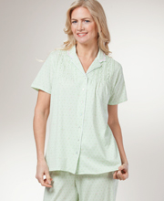 Short Sleeve Capri Pajamas - Aria Cotton-Rich Womens Pajamas in Clover