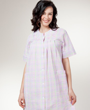 Short Seersucker Robe - Miss Elaine Snap Front Robe - Pastel Plaid