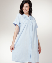 Seersucker Short Robe - Miss Elaine Short Sleeve Snap Front Robe In Peri
