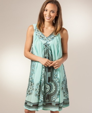 Summer Dresses - Sleeveless Rayon Cover Up Short Dress in Katerini