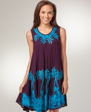 Beach Dress - Sleeveless Easy Fit Beach Cover up in Paradise Palms