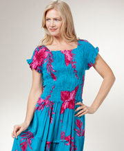 Plus Sundresses - Smocked Long Tiered Dress - Jubilee Turquoise