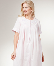 Long Seersucker Robe - Snap Front Robe By Miss Elaine In Pink
