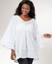 Tunic Top - 100% Cotton V-Neck Blouse in Bohemian White