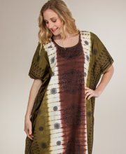 Women's Cotton Lounger - One Size Cotton Caftan in Brown Medallion