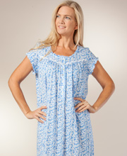Eileen West Cotton Modal Cap Sleeve Mid-Length Nightgown In Wild Blue