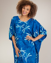 Batik Caftan by Bali Batiks - Rayon Short Sleeve Kaftan in Dragonfly Breeze