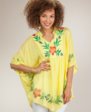 Kaftan Top - One Size 100% Cotton Poncho Top in Lemon Bliss