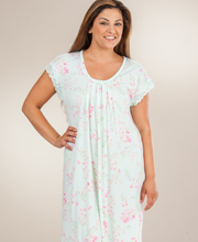 Miss Elaine Sofiknit Poly-Rayon Knit Short Sleeve Waltz Nightgown - Mint Blossom