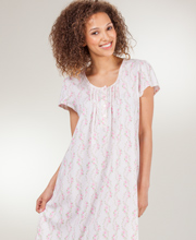 Miss Elaine Nightgown - Cap Sleeve Cotton-Rich Knit Short Gown in Rose Vine