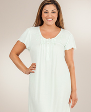 Miss Elaine Nightgowns - Short Sleeve Ribbed Cotton-Rich Knit Waltz Gown in Mint