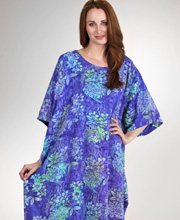 Bali Batiks Resort Wear - Rayon Short Sleeve Caftan in Wisteria Garden