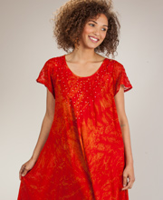 Cotton Beach Dress - Short Sleeve One Size Cover Up in Fire Batik
