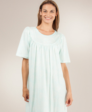Calida Nightgown  - Short Sleeve Cotton in Mint Floral