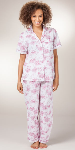 Women's Pajamas - Cotton Plus Size La Cera Pink Roses Short Sleeve PJs