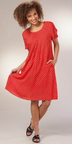 Phool Cotton Knit Dresses - Short Sleeve Tie-Dye Tiered Skirt Dress