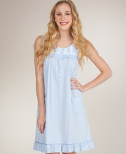 Sleeveless Short Nightgown - Aria Cotton-Rich Knit Gown in Ocean Tides