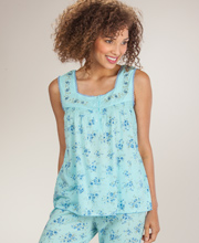 Capri Pajama Set - Cotton-Rich Sleeveless PJs in Azure Bouquet