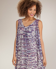 Sun Dresses - Sleeveless Cotton One Size Maxi Dress in Purple Sands
