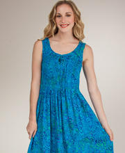 Bali Batiks Sleeveless Lace-Up Maxi Dress -  Sea Swirls