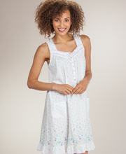 Aria Sleeveless Short Nightgown - Cotton-Rich Knit Gown in Wildflowers