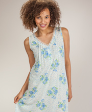 Sleeveless Nightgown - Short Cotton-Rich Gown In Precious Blue